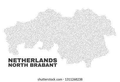 North Brabant Province map designed with small points. Vector abstraction in black color is isolated on a white background. Scattered small points are organized into North Brabant Province map.