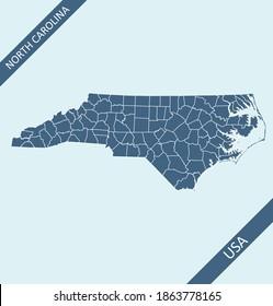 North Carolina county map blank