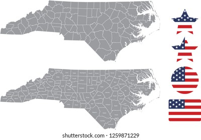 North Carolina county map vector outline in gray background. North Carolina state of USA map with counties names labeled and United States flag icon vector illustration designs