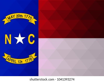 North Carolina Flag vector illustration. North Carolina Flag. National Flag of North Carolina. Mosaic flag. Vector