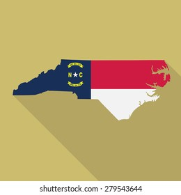 North Carolina flag,map flat icon with long shadow. Vector EPS10