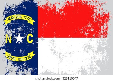 North Carolina grunge, old, scratched,distressed style state flag.