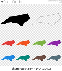 North Carolina high detailed map. Isolated black us state outline. Vector illustration.
