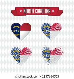 North Carolina with love. Design vector broken heart with flag inside