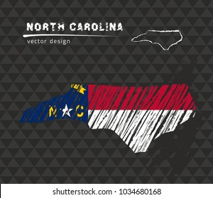 North Carolina map with flag inside on the black background. Chalk sketch vector illustration