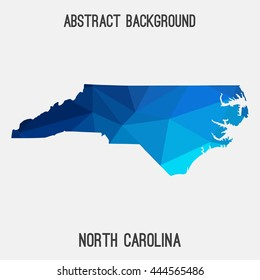 North Carolina map in geometric polygonal,mosaic style.Abstract tessellation,modern design background. Vector illustration EPS8