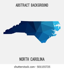 North Carolina map in geometric polygonal,mosaic style.Abstract tessellation,modern design background,low poly. Vector illustration.