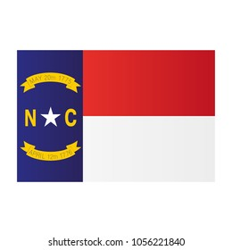 North Carolina national flag on white background texture. Vector illustration state symbol.