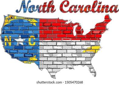 North Carolina on a brick wall - Illustration, Font with the North Carolina flag