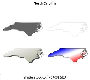 North Carolina outline map set - vector version