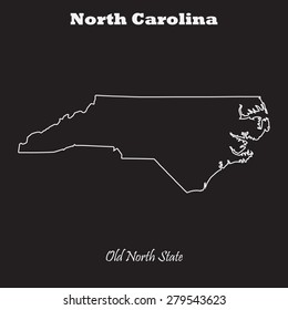 North Carolina outline map, stroke. Name of state. Line style. Vector EPS8