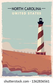 North Carolina retro poster. USA North-Carolina travel illustration. United States of America greeting card. vector illustration.