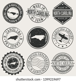 North Carolina Set of Stamps. Travel Stamp. Made In Product. Design Seals Old Style Insignia.