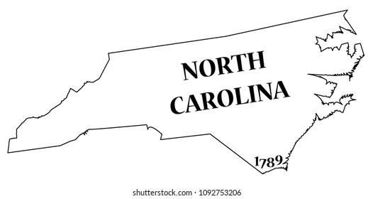 A North Carolina state outline with the date of statehood isolated on a white background