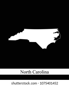 North Carolina state of USA map vector outline illustration black and white abstract background. Highly detailed map of North Carolina state of United States of America prepared by a map expert