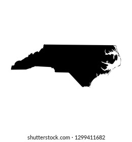 North Carolina, state of USA - solid black silhouette map of country area. Simple flat vector illustration.