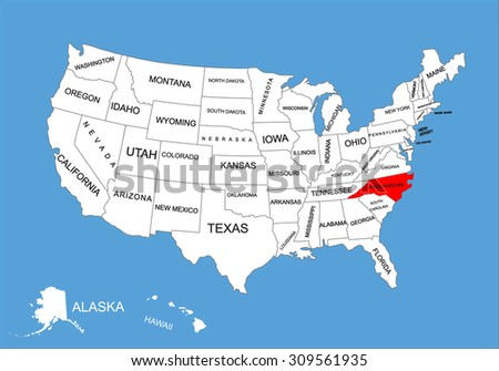 North Carolina State USA Vector Map Stock Vector (Royalty Free ...