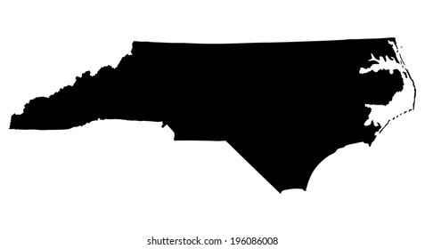North Carolina State vector map silhouette isolated on white background. High detailed illustration. United state of America country.