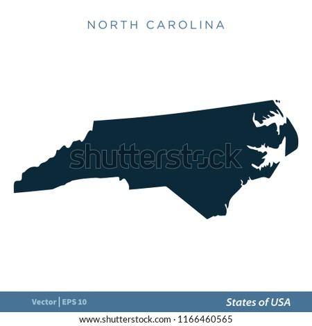 North Carolina States US Map Icon Stock Vector (Royalty Free ...