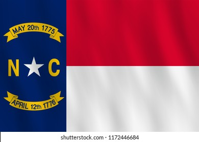 North Carolina US state flag with waving effect, official proportion.