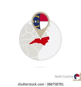 North Carolina US State map and flag in circle. Map of North Carolina, North Carolina flag pin. Map of North Carolina in the style of the globe. Vector Illustration.