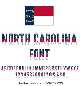 North Carolina USA state flag font. Alphabet, numbers and symbols stylized by state flag. Vector typeset