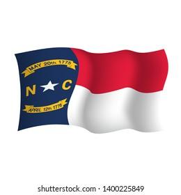 North Carolina waving vector flag. Vector illustration. United States of America. Raleigh