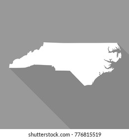 North Carolina white map,border flat simple style with long shadow on grey background