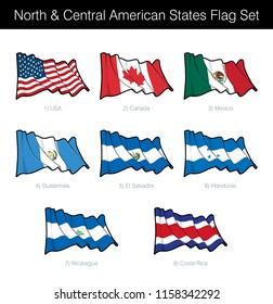 North and Central American States Waving Flag Set. The set includes the flags of USA, Canada, Mexico, Guatemala, El Salvador, Honduras, Nicaragua and Costa Rica. Vector Icons neatly on Layers