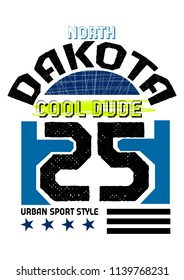 north dakota cool dude,t-shirt design