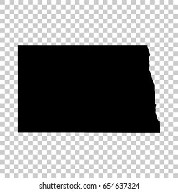 North Dakota map isolated on transparent background. Black map for your design. Vector illustration, easy to edit.