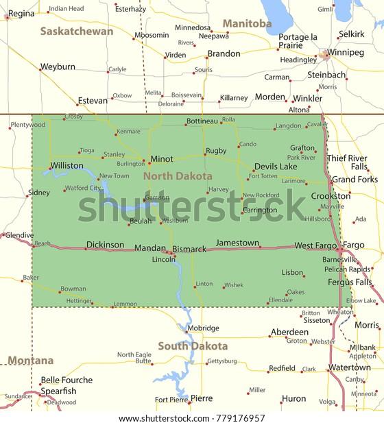 North Dakota Map Shows State Borders Stock Vector (Royalty ...