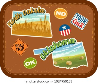 North Dakota, Oklahoma travel stickers with scenic landscapes and retro text on vintage suitcase background