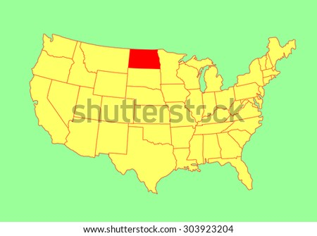North Dakota State USA Vector Map Stock Vector (Royalty Free ...