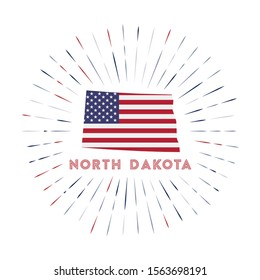 North Dakota sunburst badge. The us state sign with map of North Dakota with American flag. Colorful rays around the logo. Vector illustration.