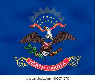 North Dakota waving flag. North Dakota state flag background texture.Vector illustration.