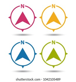 North Direction Compass Icon - Colorful Vector Illustration - Isolated On White Background