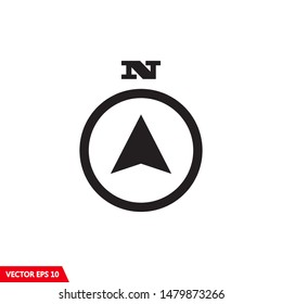 North direction compass icon in flat design