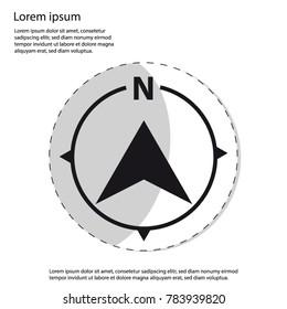 North Direction Compass Icon - Sticker Vector Graphic