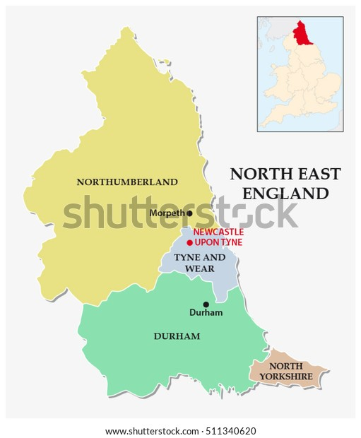 Map Of England Political.North East England Administrative Political Map Stock Vector