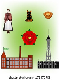 North of England - Lancashire vector Illustrations - Mill worker, Heeler dog, Pie, Rose, Mill and Blackpool Tower