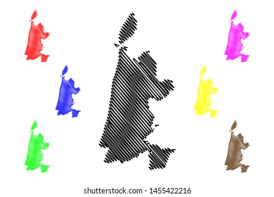 North Holland province (Kingdom of the Netherlands, Holland) map vector illustration, scribble sketch North Holland map