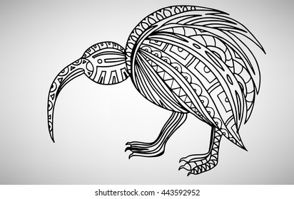 North Island Brown Kiwi (Apteryx Mantelli). Hand-drawn with ethnic pattern. Coloring page - isolated on a white background. Zendoodle patterns. Vector illustration.