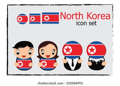 North Korea boy, girl, businessman, business women cartoon vector illustration and North Korea round, square and normal flag icon set