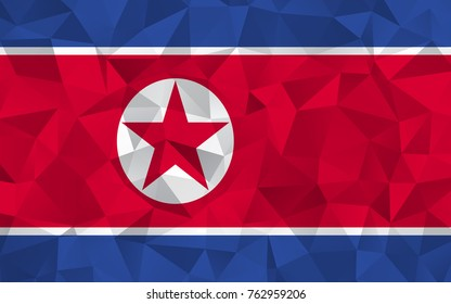 North Korea flag. Abstract Polygon Geometric Shape Background. Vector eps10.
