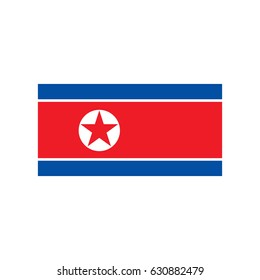 North Korea flag illustration on the white background. Vector illustration