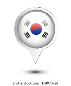 North Korea flag location map on white