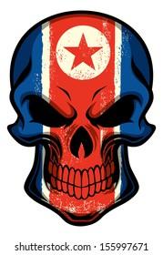 North Korea flag painted on a skull