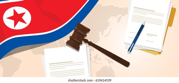 North Korea law constitution legal judgment justice legislation trial concept using flag gavel paper and pen vector