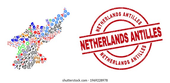 North Korea map collage and grunge Netherlands Antilles red round badge. Netherlands Antilles badge uses vector lines and arcs. North Korea map collage includes gears, houses, screwdrivers, suns,